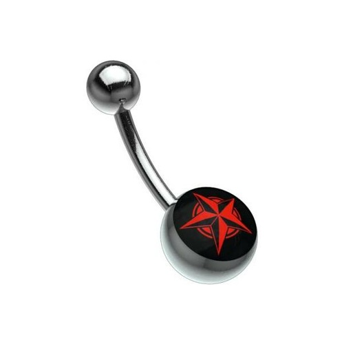 Titanium Highline® Picturebell - Five Pointed Star Red/Black : 1.6mm (14ga) x 10mm